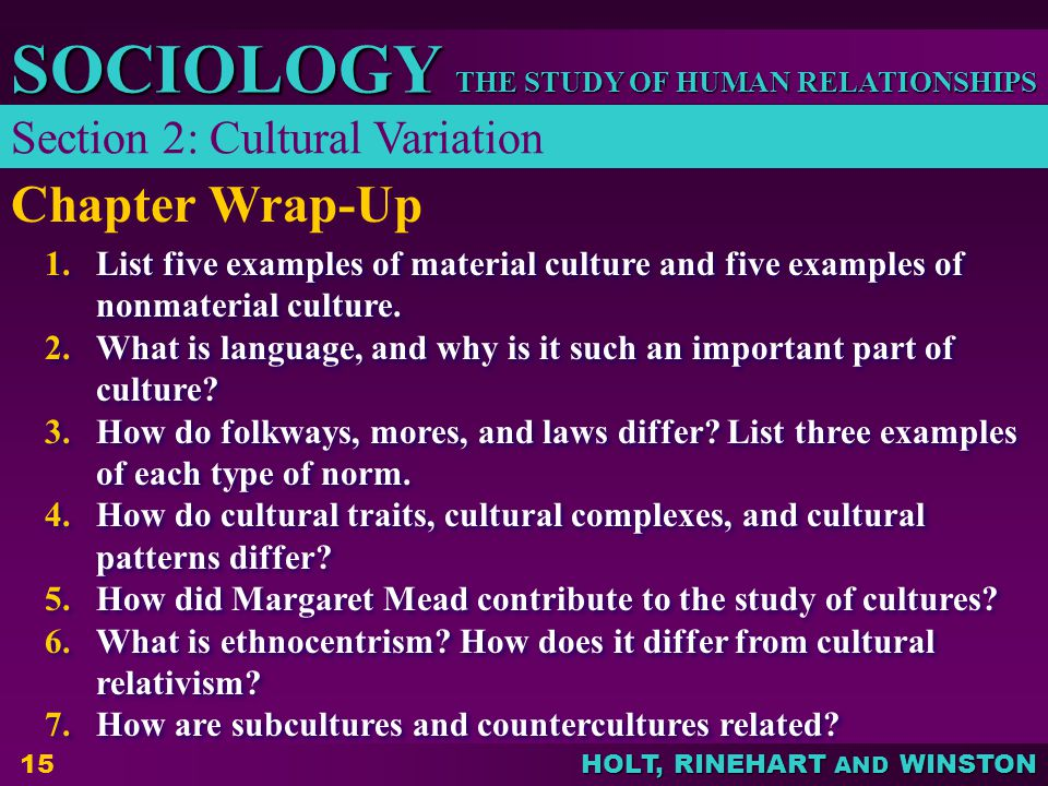 Chapter Wrap-Up Section 2: Cultural Variation
