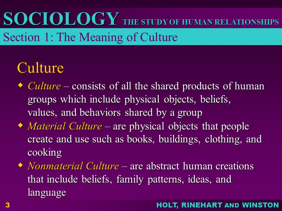 Culture Section 1: The Meaning of Culture