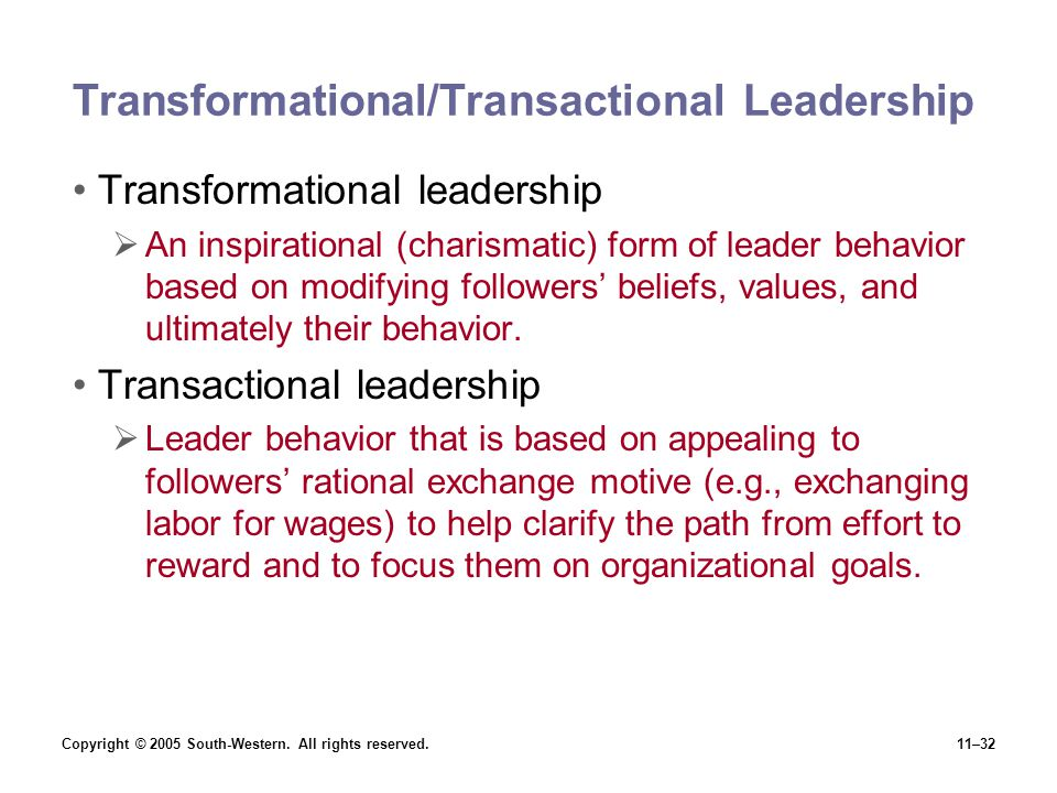 "transformational leadership behaviors What is ""transformational leadership"" in most areas of the world electrical energy category is called transformational leadership this behavior is founded."