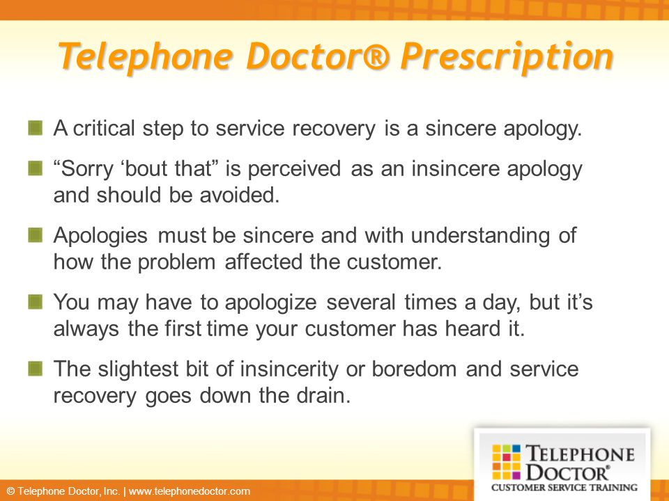 Six steps to service recovery ppt download 14 telephone doctor prescription ccuart Images