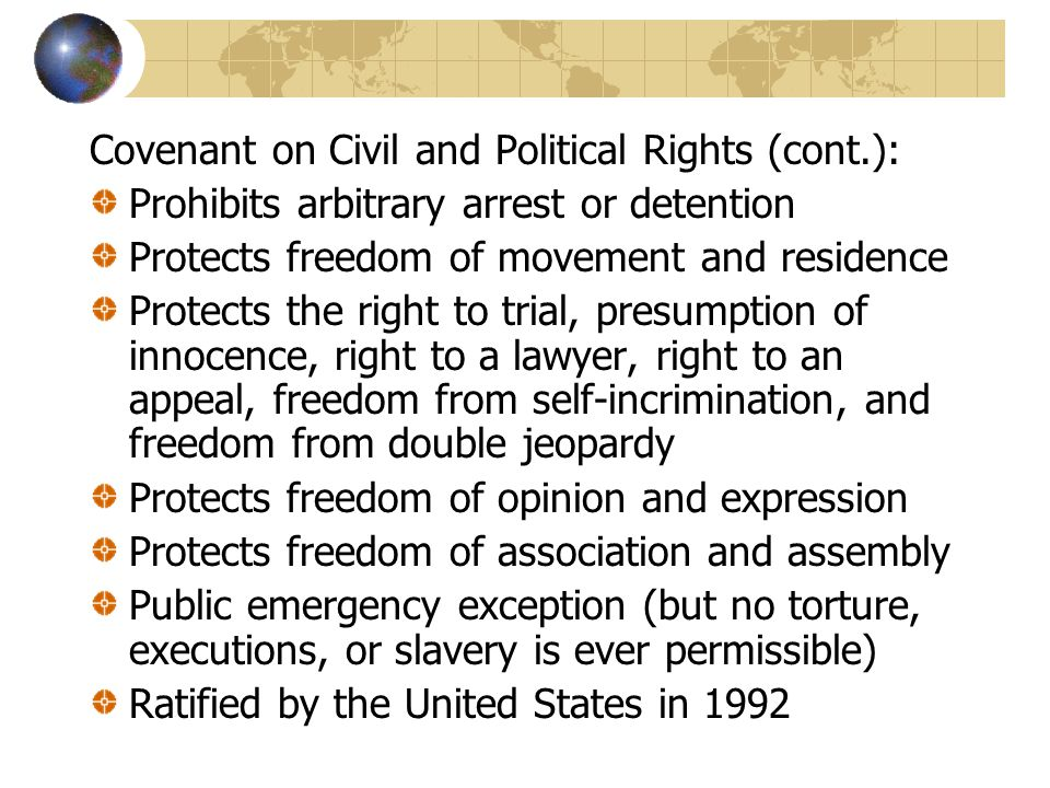 Covenant on Civil and Political Rights (cont.):