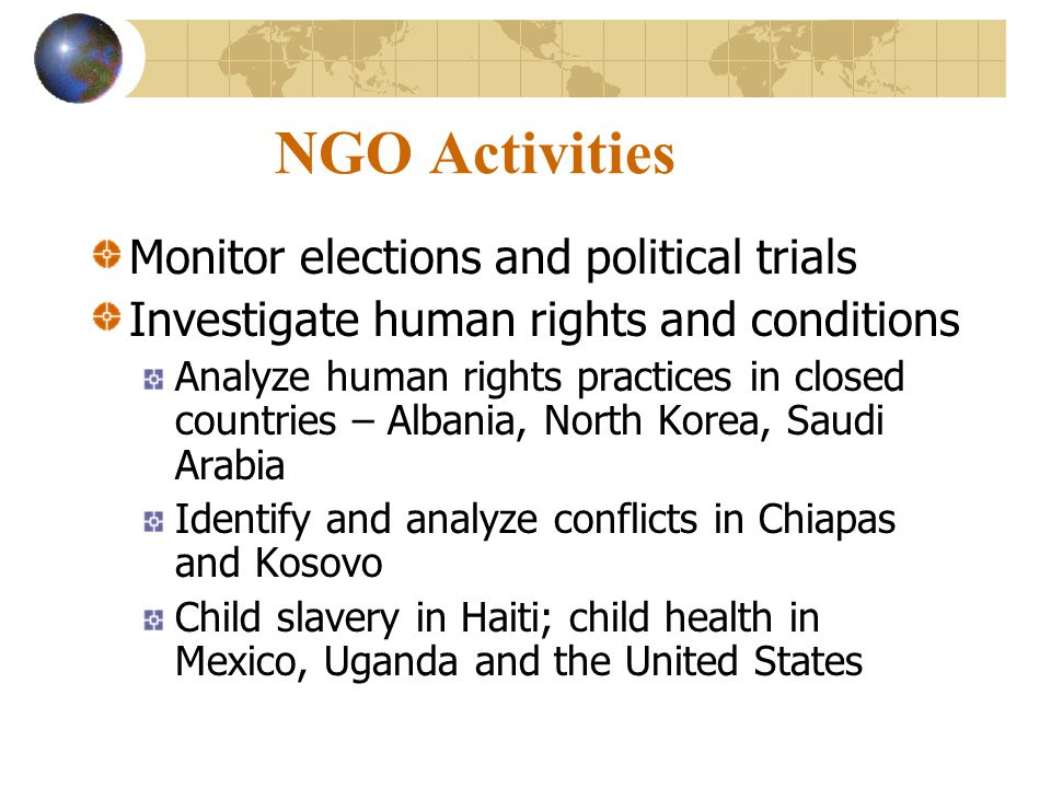 NGO Activities Monitor elections and political trials