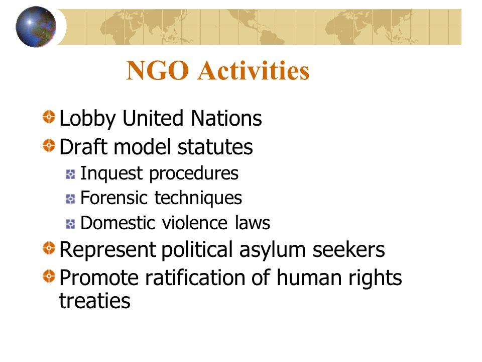 NGO Activities Lobby United Nations Draft model statutes
