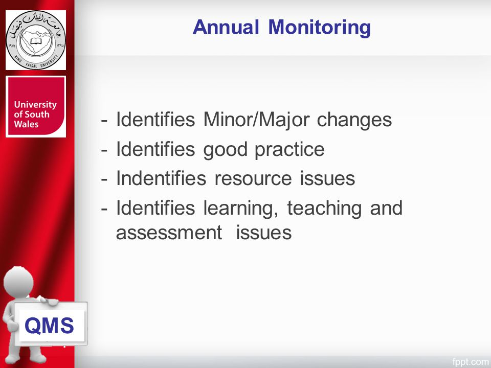 QMS Annual Monitoring Identifies Minor/Major changes