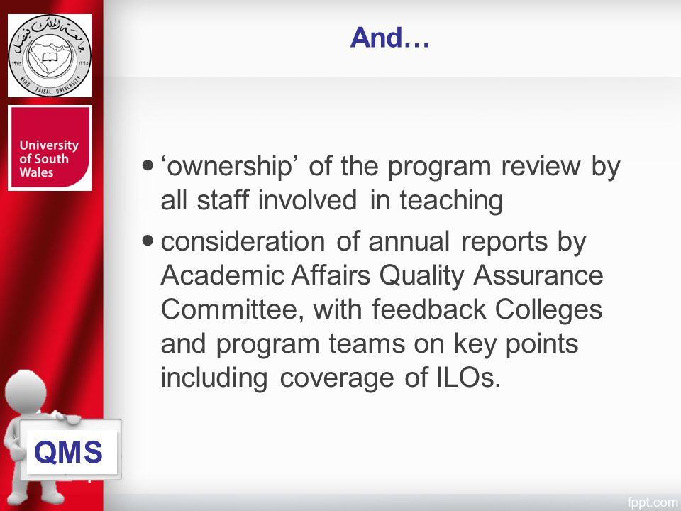 And… 'ownership' of the program review by all staff involved in teaching.