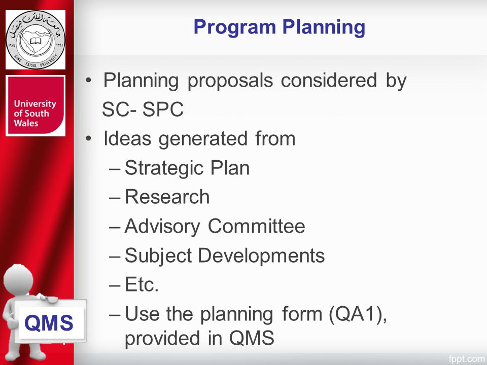 QMS Program Planning Planning proposals considered by SC- SPC