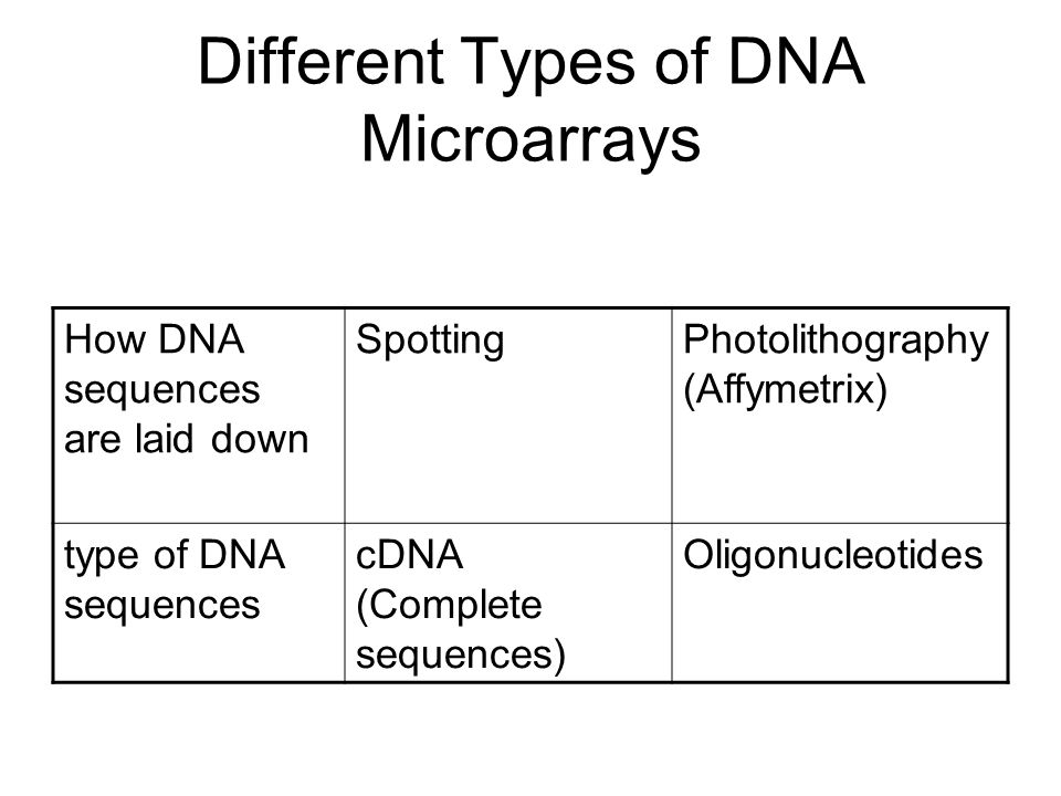 Different Types of DNA Microarrays