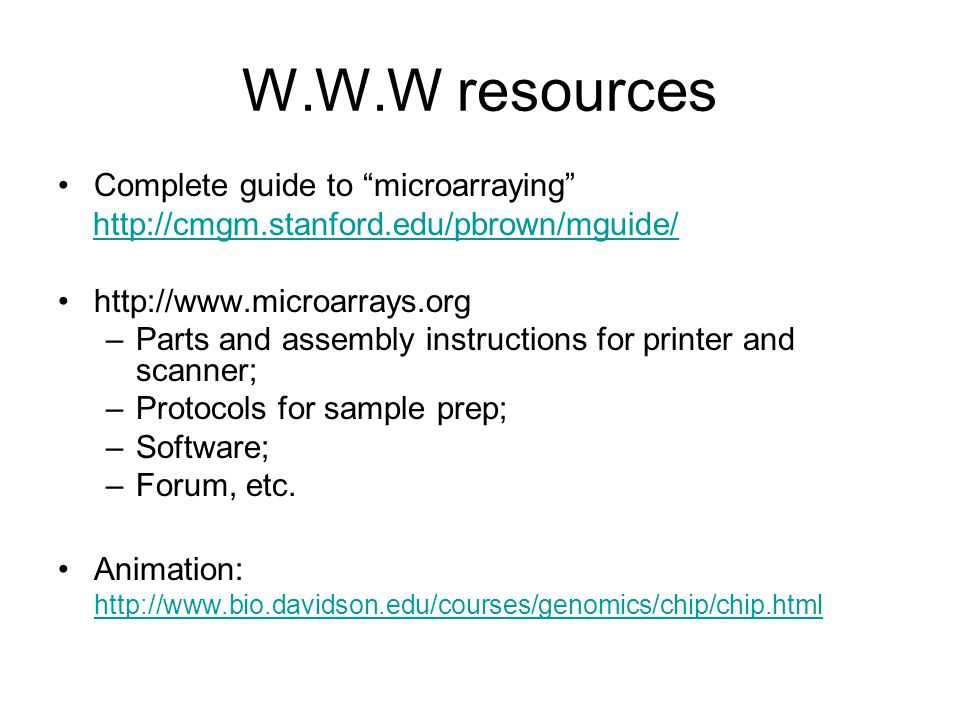 W.W.W resources Complete guide to microarraying