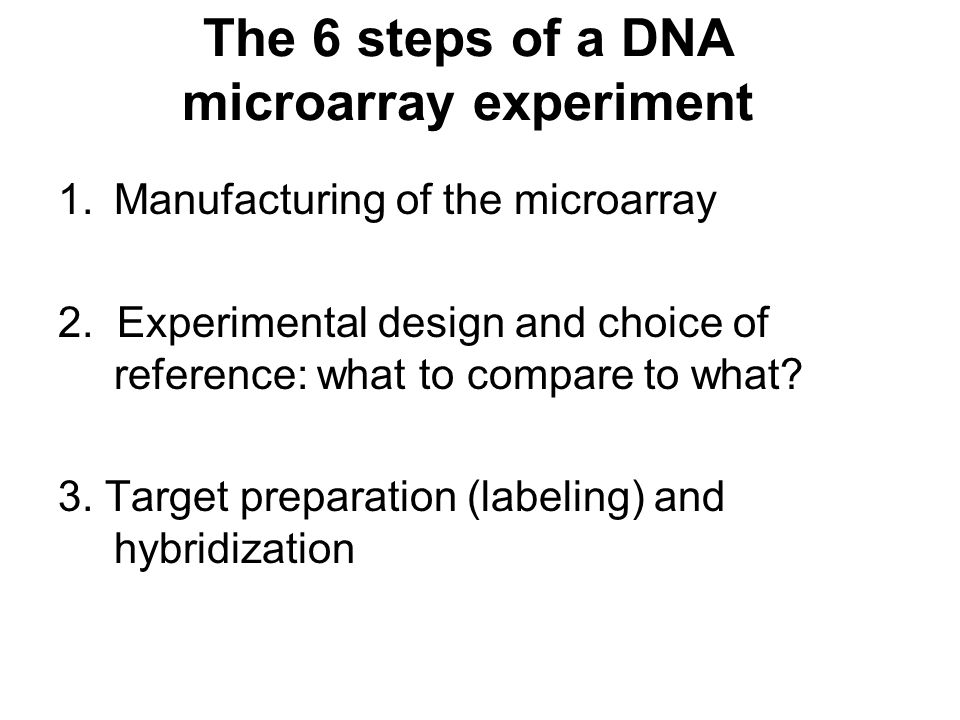 The 6 steps of a DNA microarray experiment