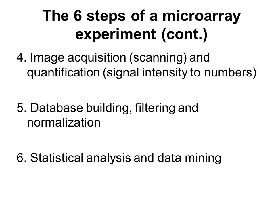 The 6 steps of a microarray experiment (cont.)