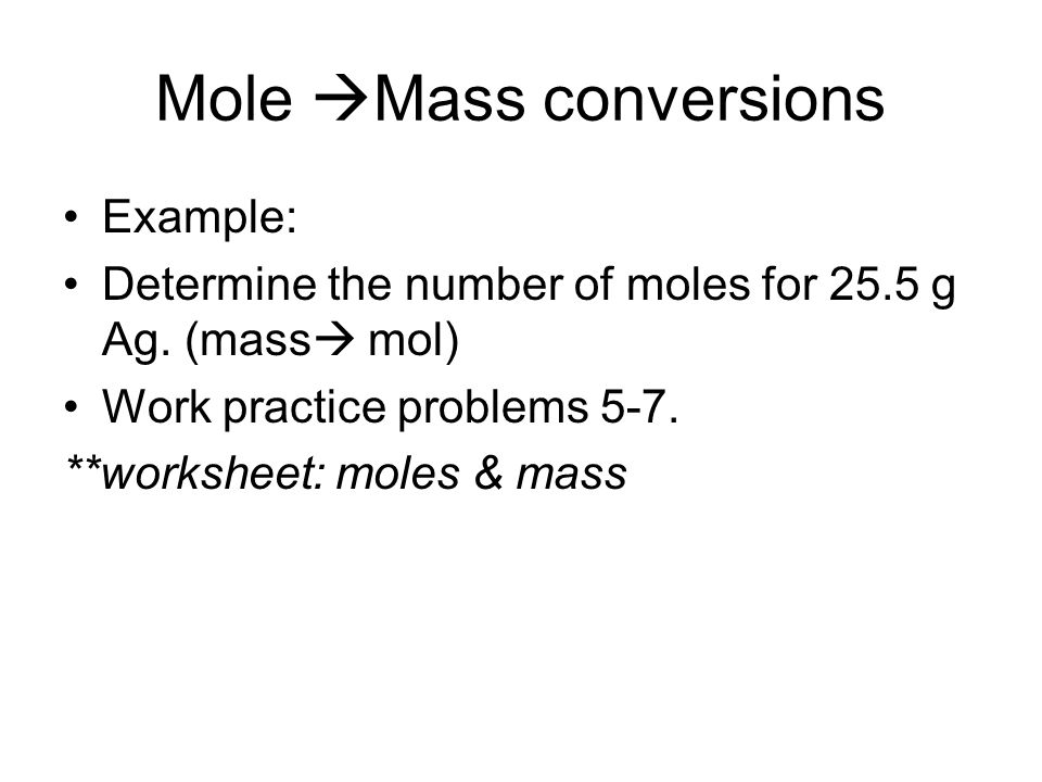 Mole Mass conversions