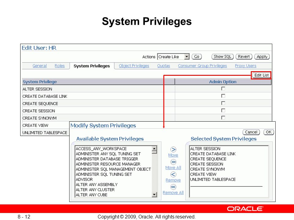 Oracle privileges check