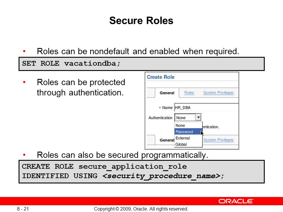 Oracle user grants and roles