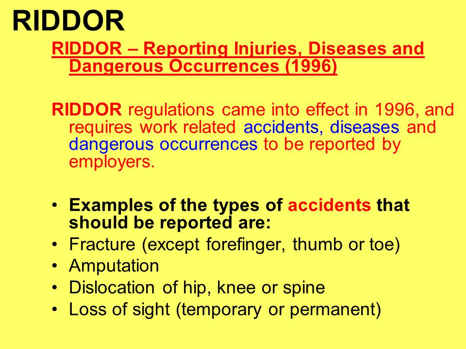Health and Safety RIDDOR and COSHH - ppt video online download