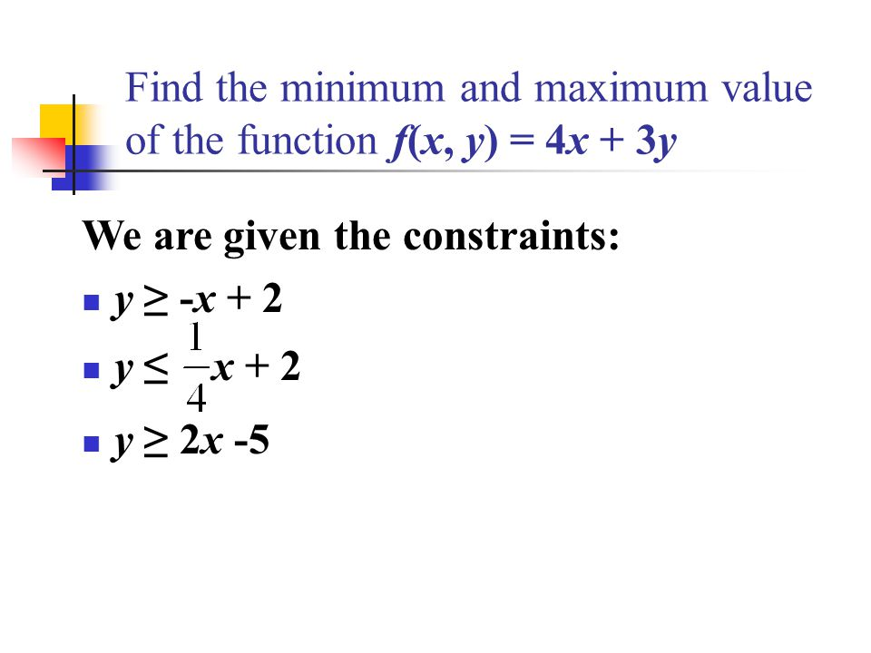 how to find the maximum of a function from minimum