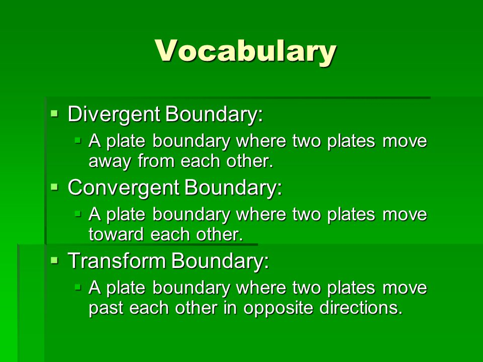 Vocabulary Divergent Boundary: Convergent Boundary: