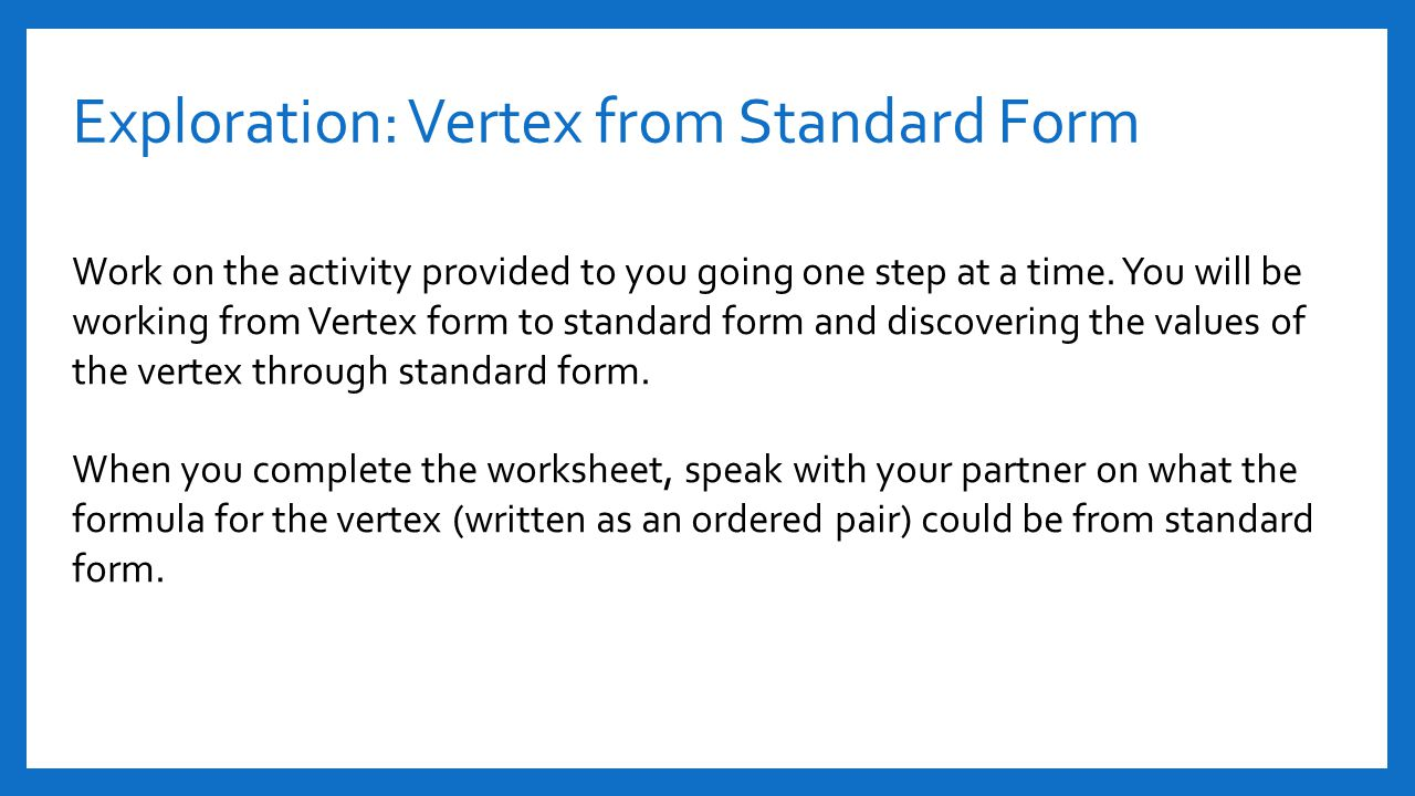 Section 41 and 42 quadratic functions ppt video online download exploration vertex from standard form robcynllc Images