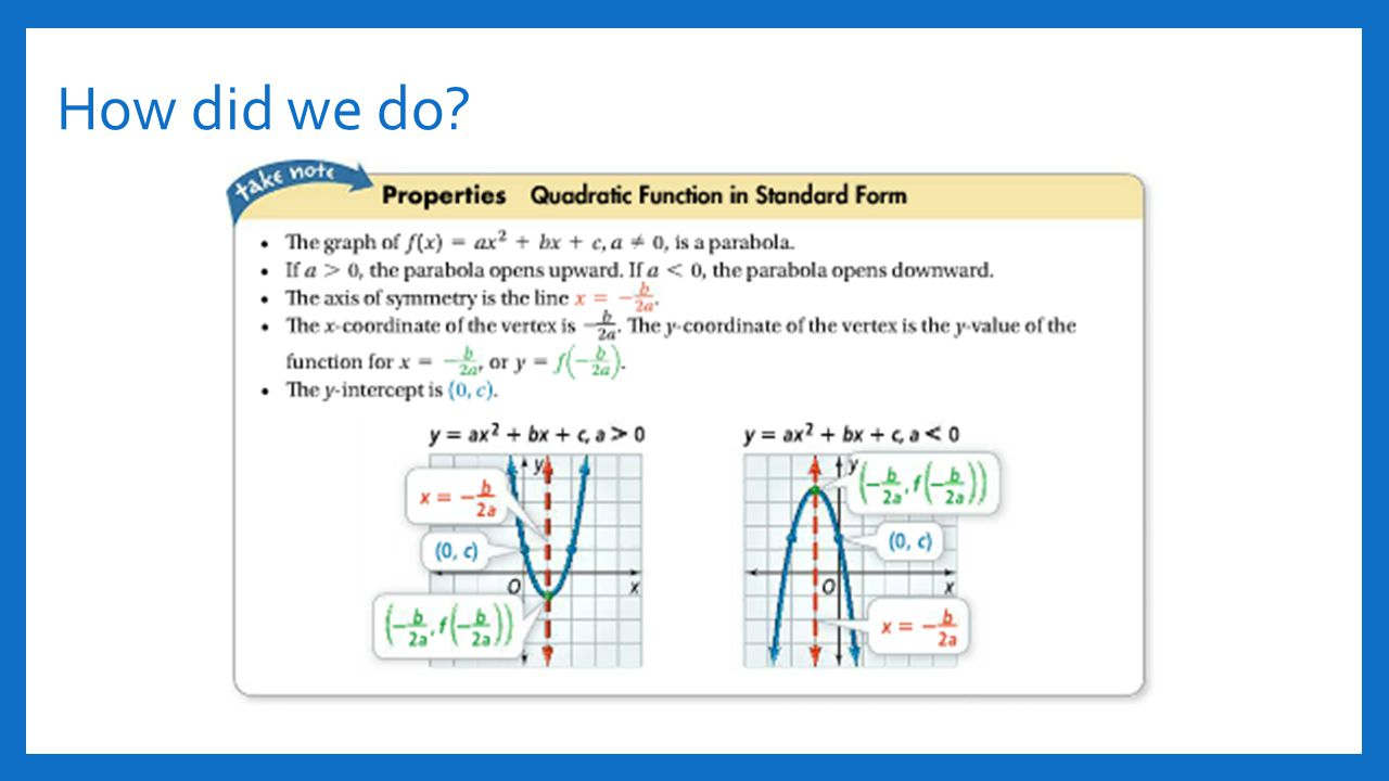 Section 41 and 42 quadratic functions ppt video online download exploration vertex from standard form 13 how falaconquin