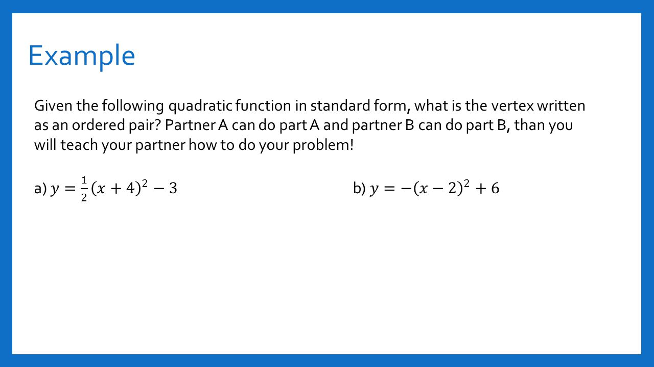 Section 41 and 42 quadratic functions ppt video online download 14 example given the following quadratic function falaconquin