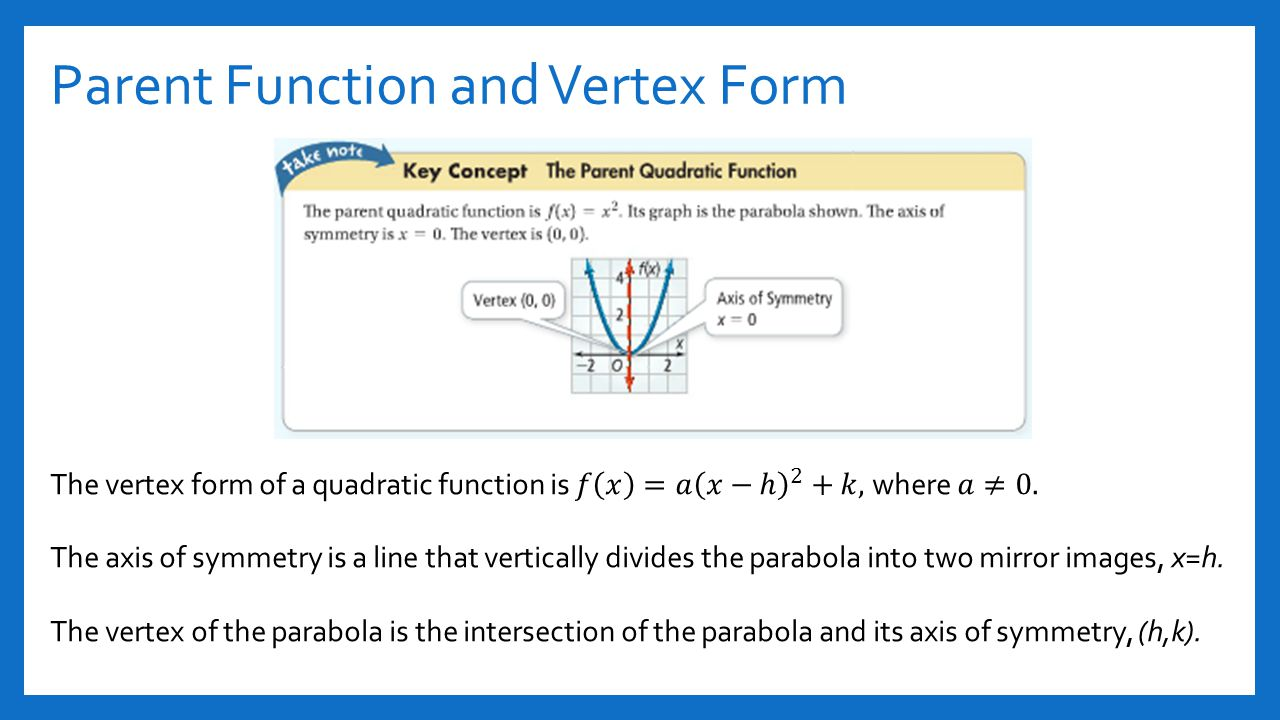 Section 41 and 42 quadratic functions ppt video online download parent function and vertex form falaconquin