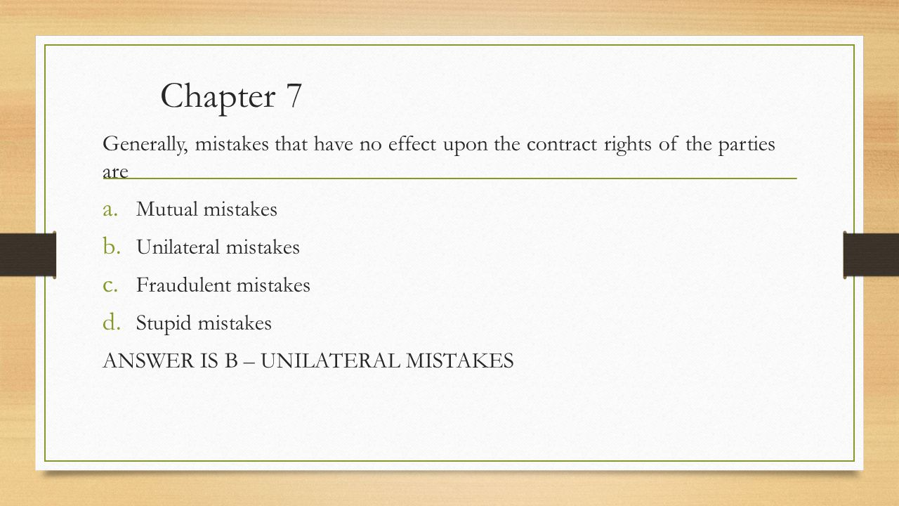 mutual mistakes Title: mutual and unilateral mistake in contract law author: drs63 created date: 12/7/2016 9:13:37 am.