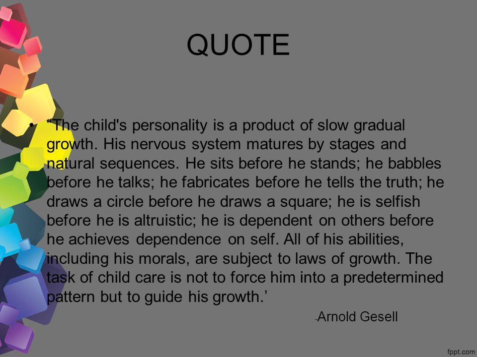 arnold gesell maturation theory of child development pdf
