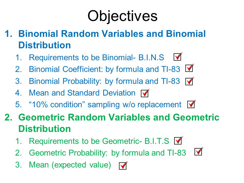 Worksheets Binomial Probability Worksheet binomial geometric random variables ppt download objectives and distribution