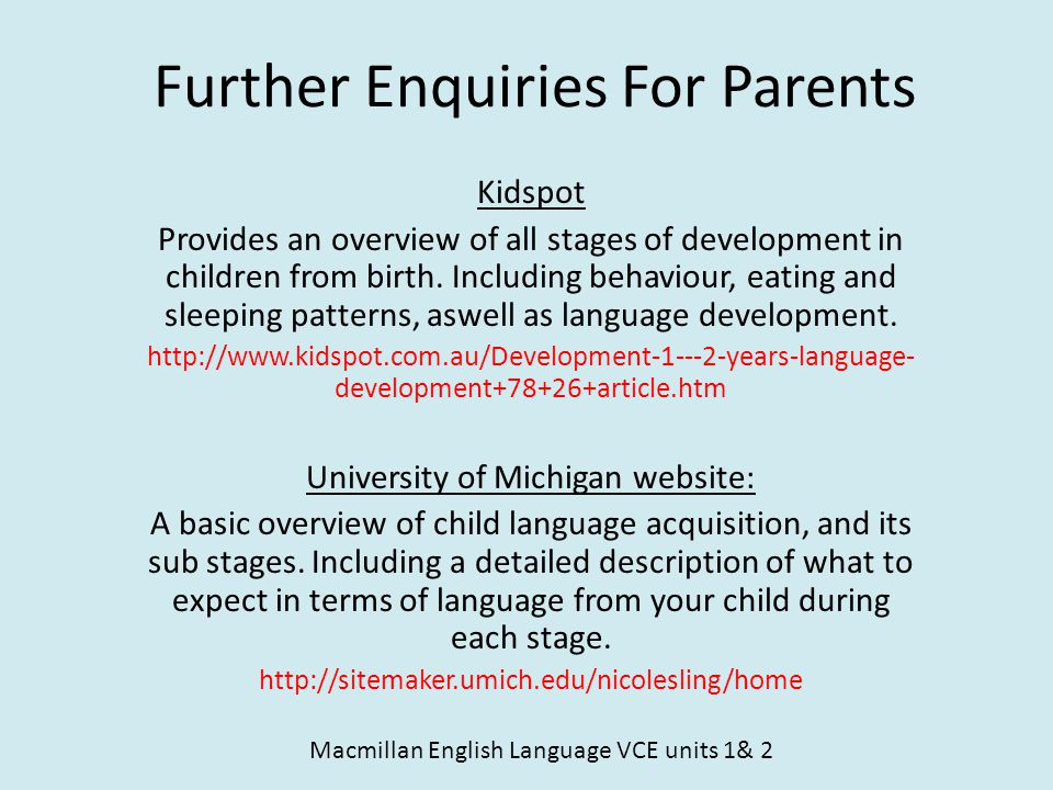 Further Enquiries For Parents