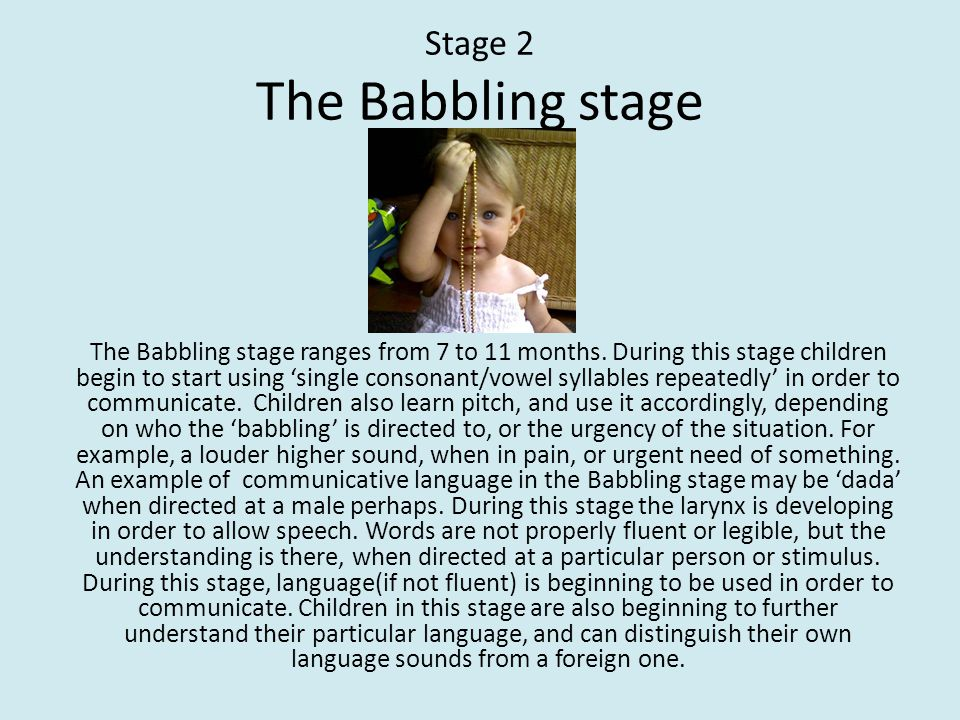 Stage 2 The Babbling stage
