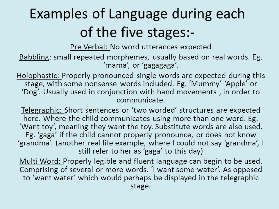 Examples of Language during each of the five stages:-