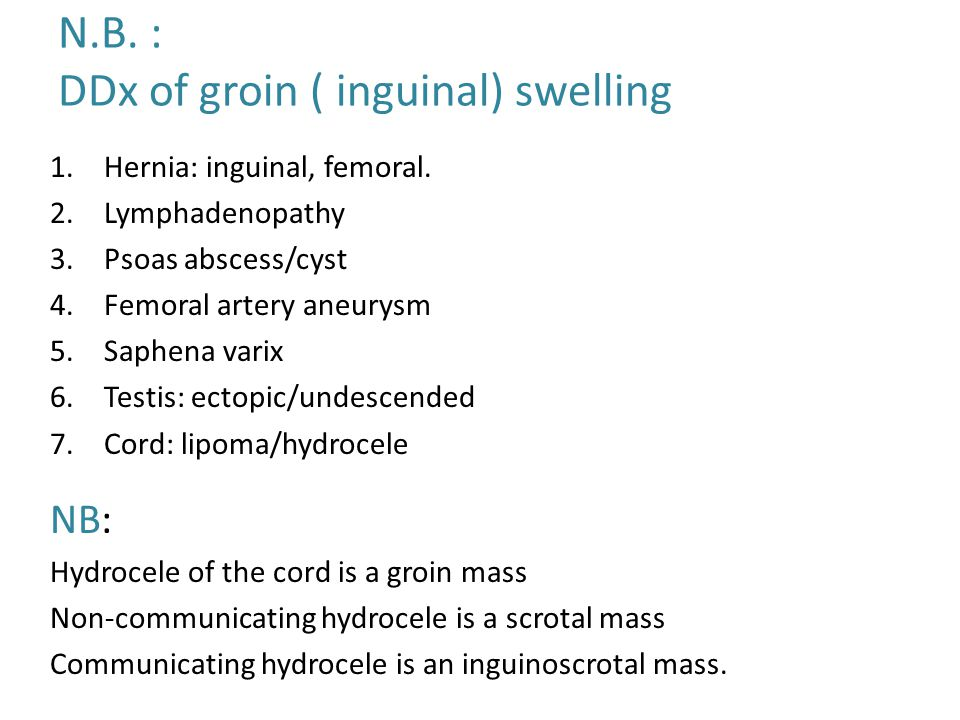 N.B. : DDx of groin ( inguinal) swelling