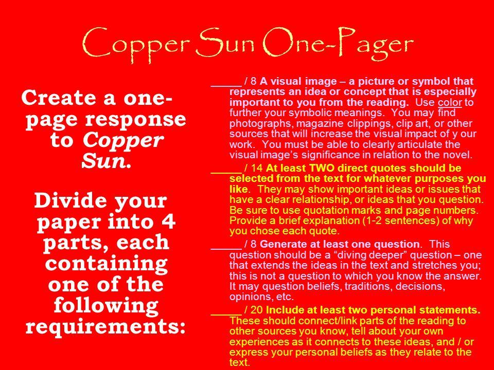 Copper sun sharon draper essay
