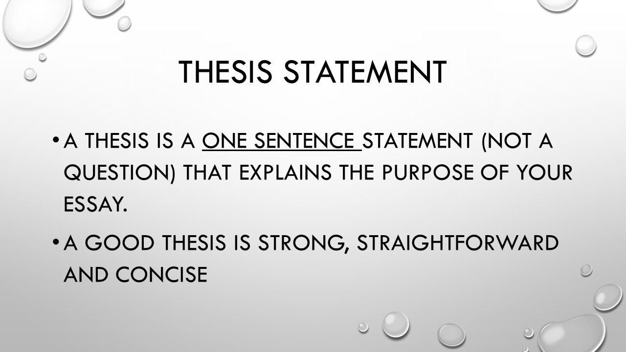 is a fabulous thesis declaration sole one particular sentence