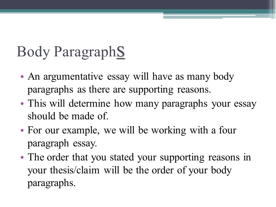 Argumentive essay parts of body paragraph two