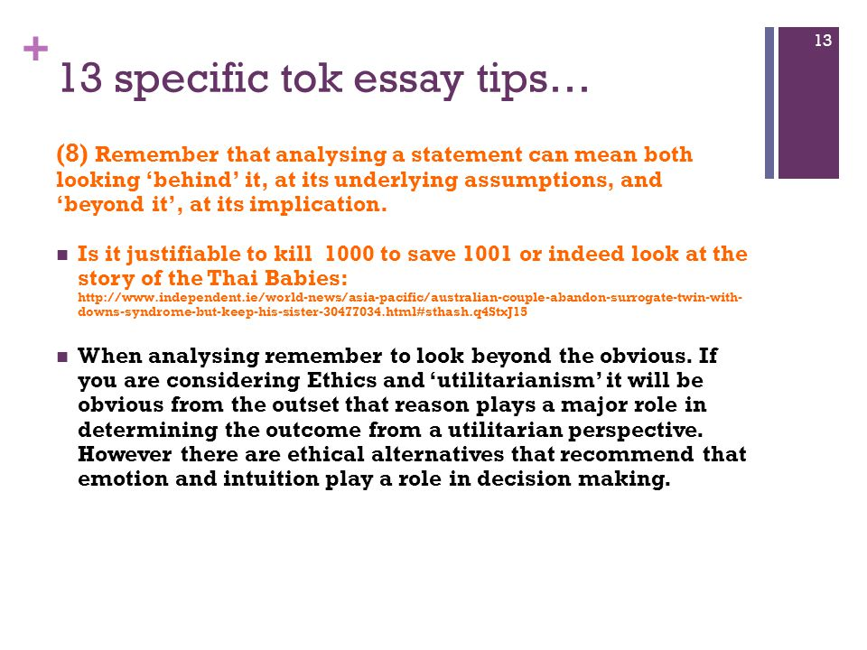 tok essay tips Ge tok essays, and why i understand that the scores awarded were j docu ent  cannot  with these examples, one can conclude that if an on.