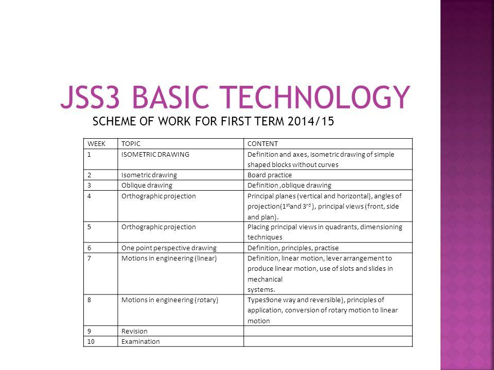 JSS3 BASIC TECHNOLOGY SCHEME OF WORK FOR FIRST TERM 2014/15 WEEK TOPIC