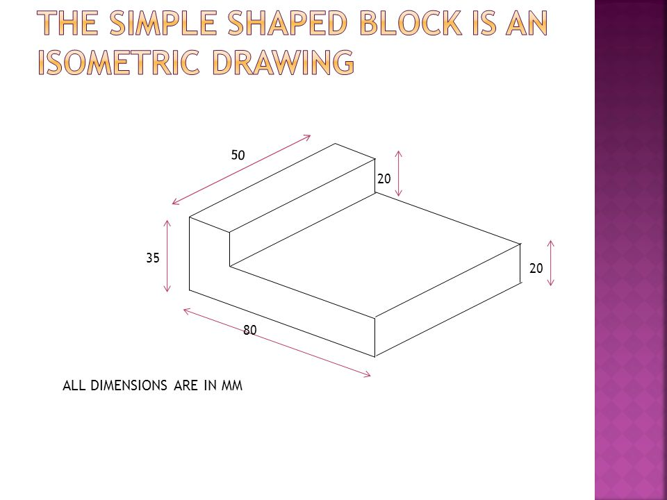 THE simple shaped block IS AN isometric DRAWING