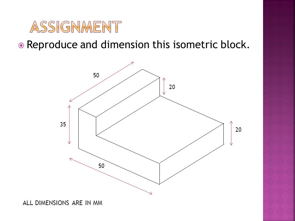 Assignment Reproduce and dimension this isometric block.