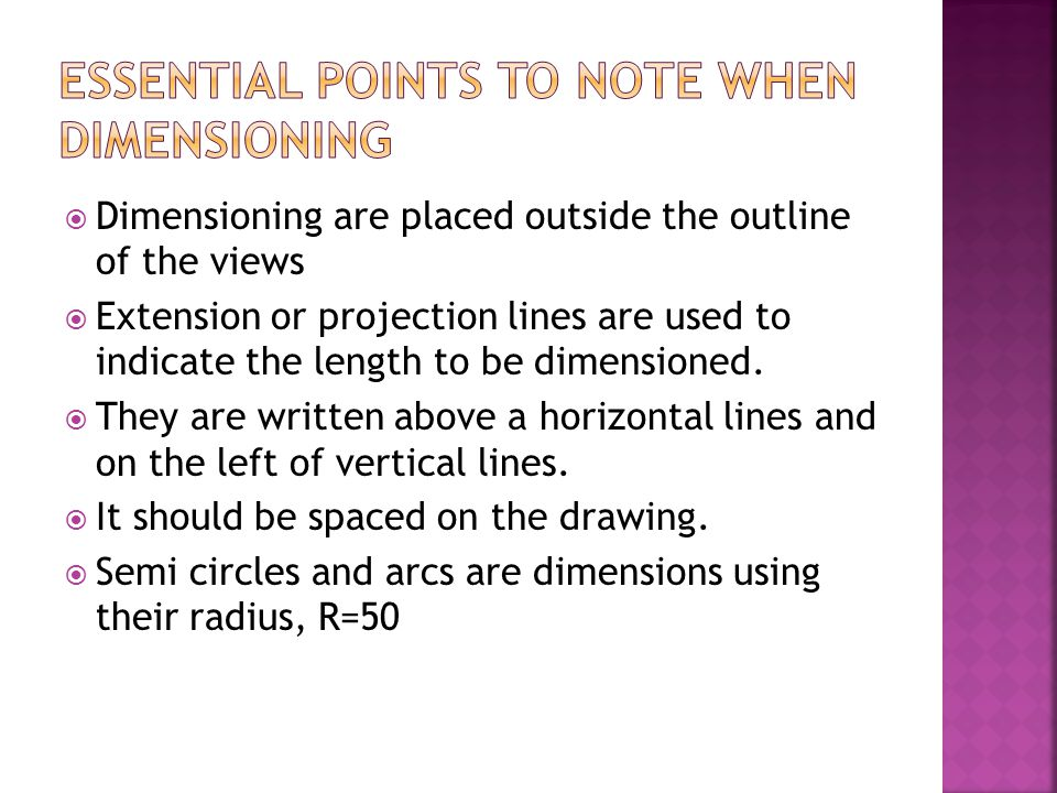Essential points to note when dimeNsioning