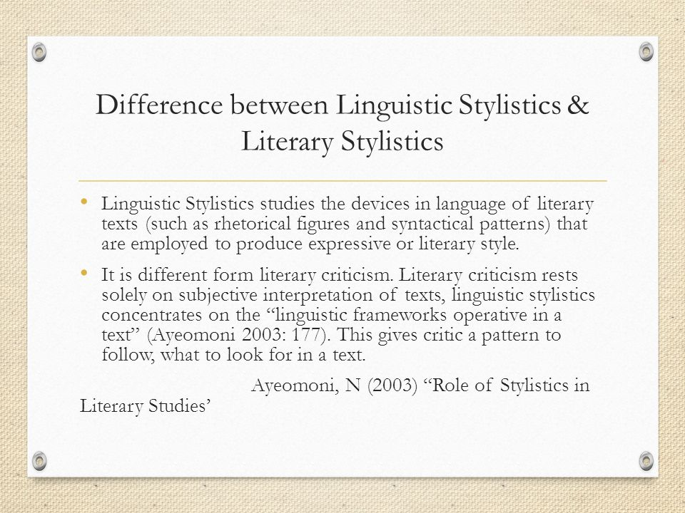 Difference between Linguistic Stylistics & Literary Stylistics