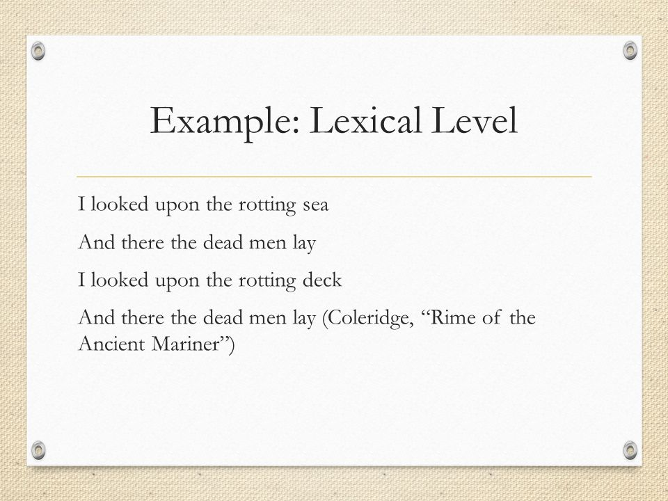 Example: Lexical Level