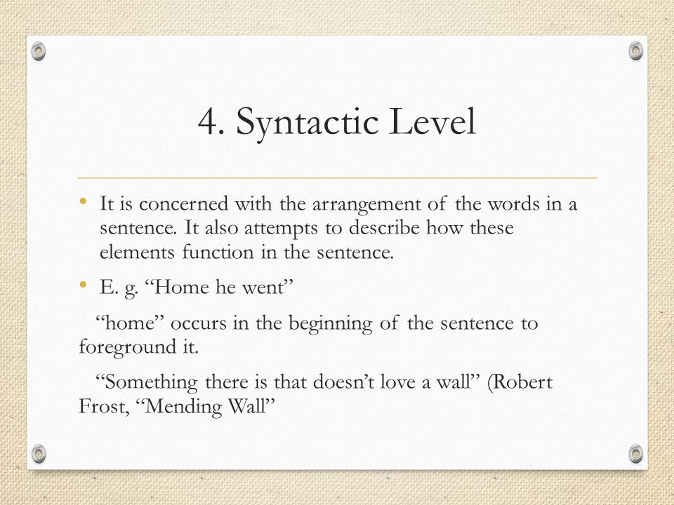 4. Syntactic Level