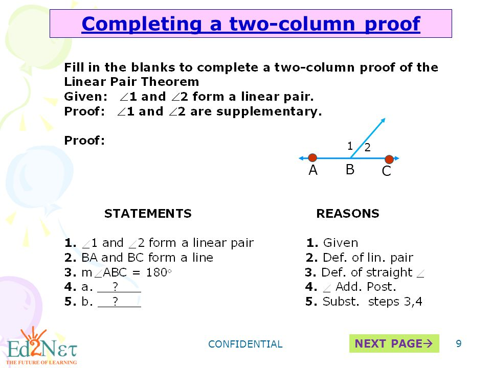 Geometry two column proofs worksheets with answers