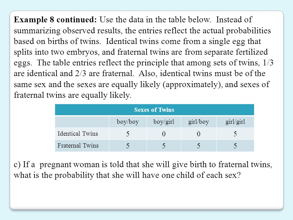 Example 8 continued: Use the data in the table below