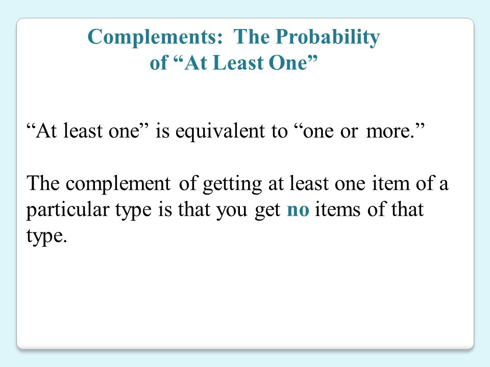 Complements: The Probability of At Least One