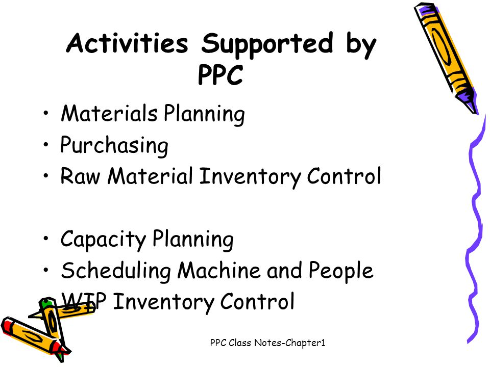 Activities Supported by PPC