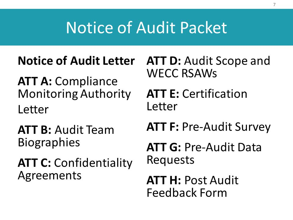 Notice Of Compliance Audit