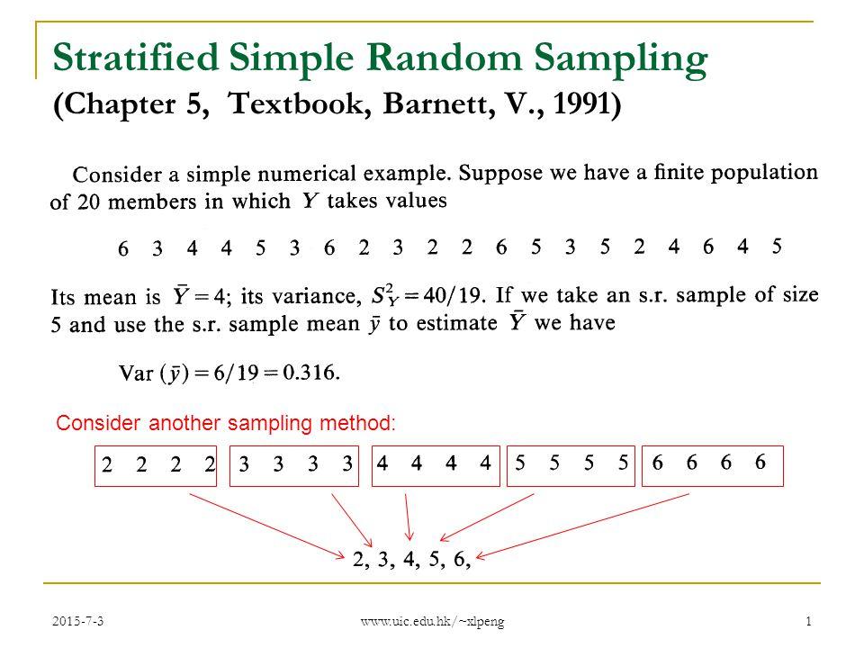 Stratified Simple Random Sampling Chapter 5 Textbook Barnett V
