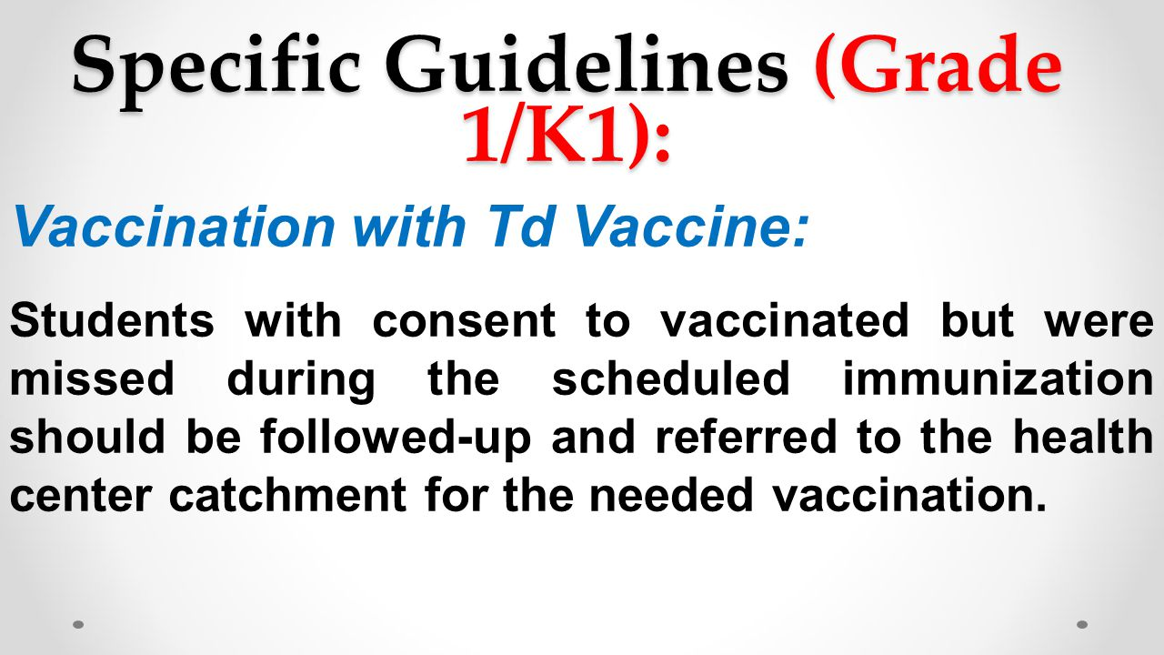 Specific Guidelines (Grade 1/K1):