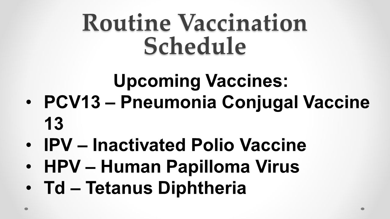 Routine Vaccination Schedule